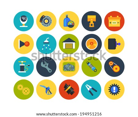 Flat icons set 24 - car parts and services - stock vector