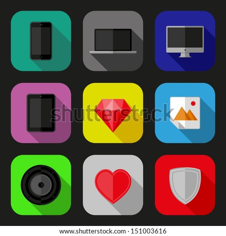 Flat icons set. EPS10 vector illustration.  - stock vector