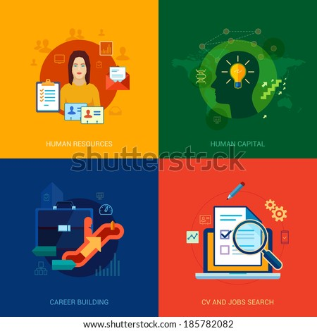 Flat icons set for human resources, personal, career building, CV, job search, vacancy, interview, hire or contract positions. - stock vector
