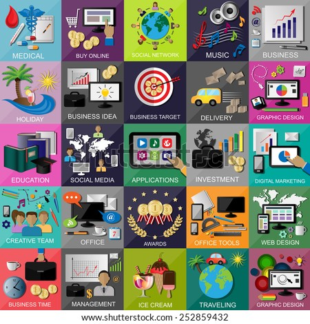 Flat Icons Set For: Web Design, Social Media, Digital Marketing, Management, Office tools, Social Network - Isolated On Background - Vector Illustration, Graphic Design, Editable For Your Design - stock vector