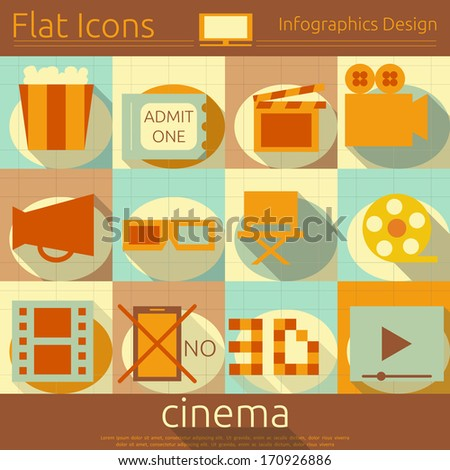 Flat Icons Set - Movie in Retro Style - Infographics Design. Vector Illustrations  - stock vector