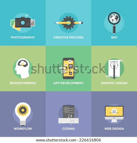Flat icons set of creative design process and mobile application development, brainstorming workflow, website coding, search engine symbol. Flat design style modern vector illustration concept. - stock vector