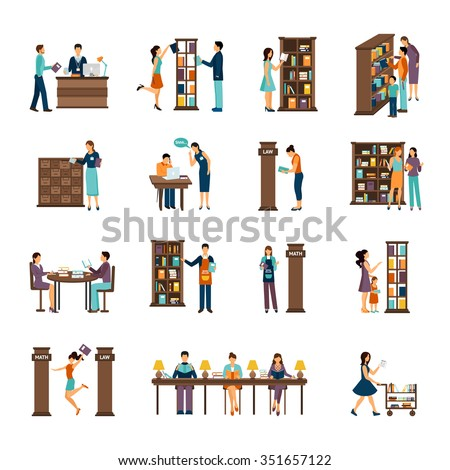 Flat icons set of different scenes of people activities in library isolated vector illustration - stock vector