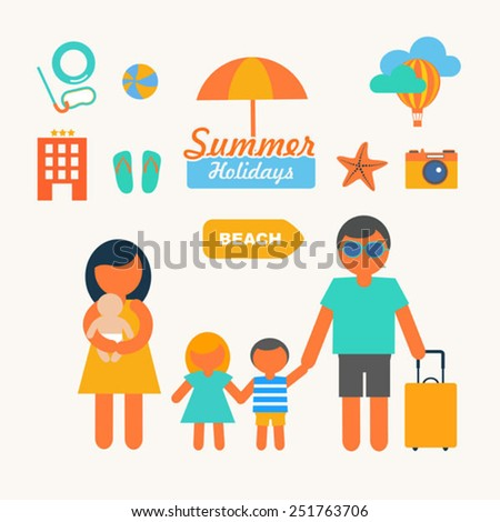flat icons set of family summer holidays infographic design elem - stock vector