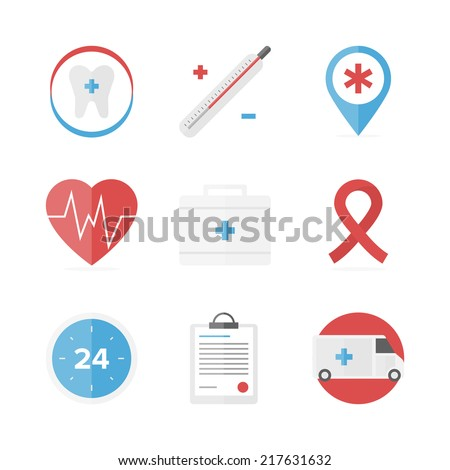 Flat icons set of first aid kit and medical support service, clinical records, healthcare objects and dental care symbol. Flat design style modern vector concept. Isolated on white background. - stock vector