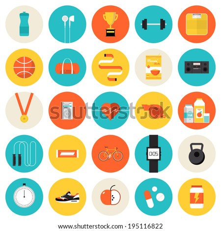 Flat icons set of fitness, sport and healthy lifestyle: exercise, diet, food, supplements, well-being, human body. Modern design style vector symbol collection. Isolated on white background.   - stock vector