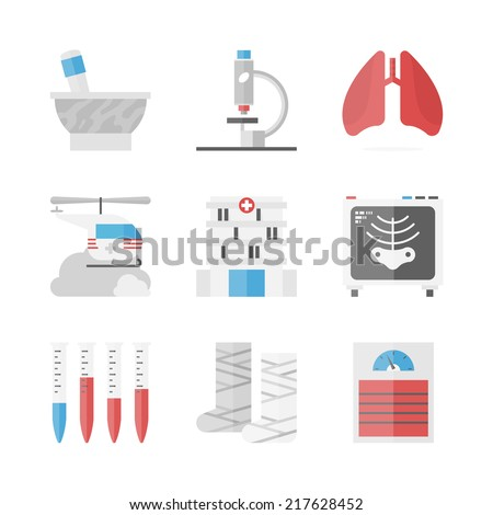 Flat icons set of health care and hospital institution, patient treatment, blood test and medical research, x-rays examination. Flat design style modern vector concept. Isolated on white background. - stock vector