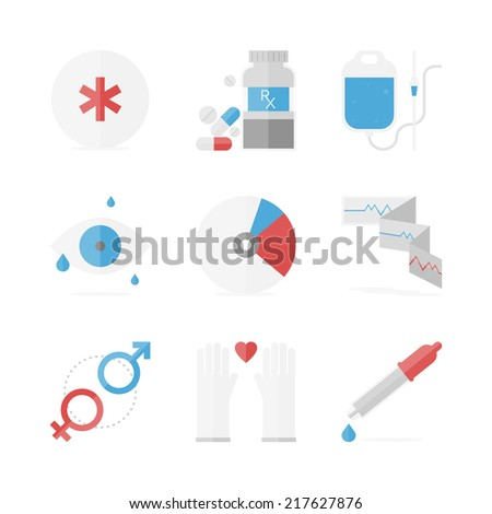 Flat icons set of healthcare and medicine service, medication pills and drugs recipe, clinical records and eye care. Flat design style modern illustration vector concept. Isolated on white background. - stock vector