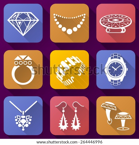 Flat icons set of jewelry elements. Collection of color icons for luxury industry. Qualitative vector symbols about jewellery, accessories, fashion, luxury, precious metal wares, etc - stock vector