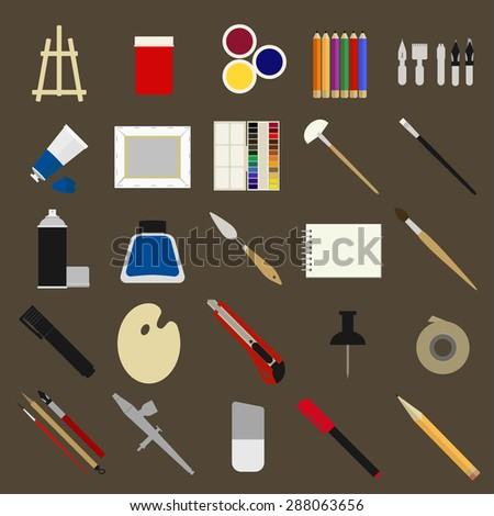 Flat icons set of materials for painters. - stock vector