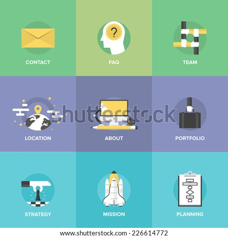 Flat icons set of organization planning process, business strategic vision and tactics, team building and developing solution for creative project. Flat design style modern vector illustration concept - stock vector