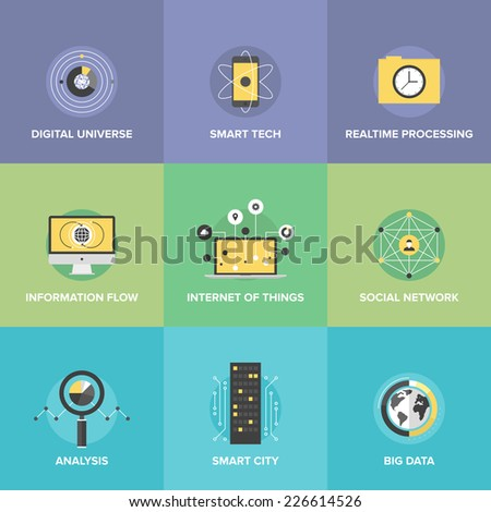 Flat icons set of smart futuristic communication, internet of things technologies, global digital social network connection, big data analytics. Flat design style modern vector illustration concept. - stock vector