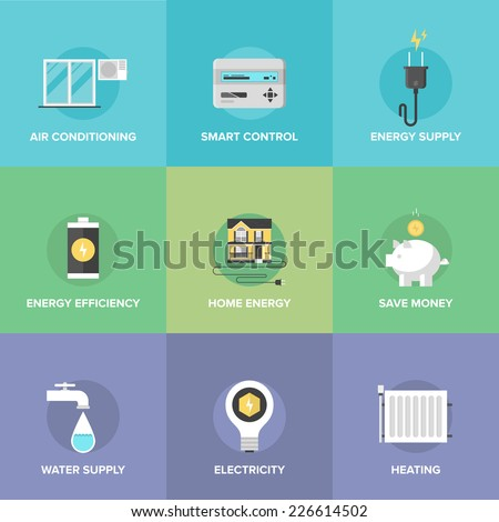 Flat icons set of smart house technology system with centralized control of lighting, heating, ventilation and air conditioning, energy savings. Flat design style modern vector illustration concept. - stock vector