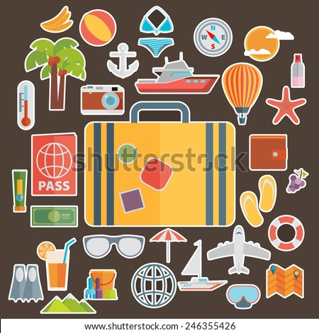 Flat icons set of traveling on airplane, planning a summer vacation, tourism and journey objects and passenger luggage - stock vector