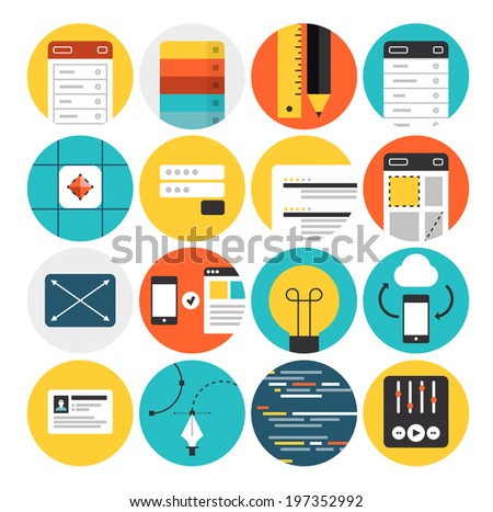 Flat icons set of web design and website development process, mobile user interface prototyping, graphic design sketch workflow. Modern design vector illustration concept. Isolated on white background - stock vector