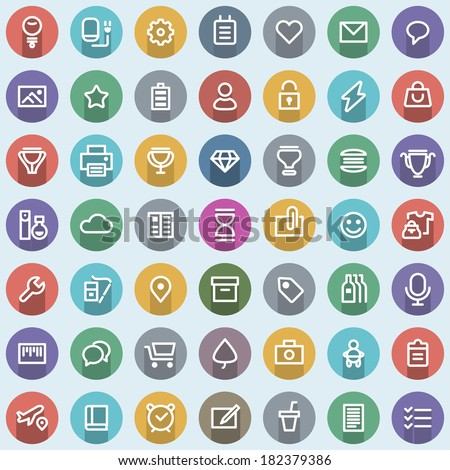 Flat icons set. Simple line icons pack for your design. Vector illustration. - stock vector