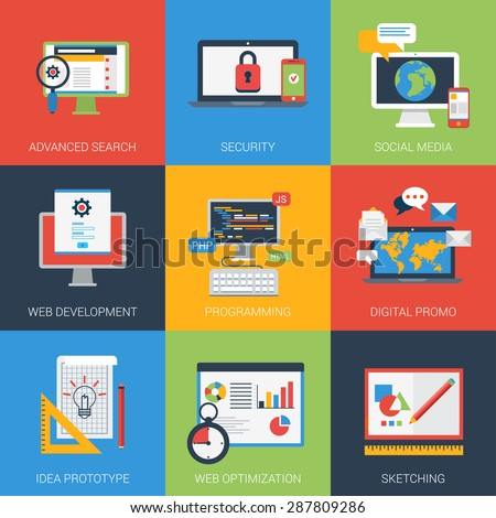 Flat icons set web app development window interface. Search results security social media digital promo program coding prototyping idea SEO optimization sketch. Vector infographics icon collection. - stock vector