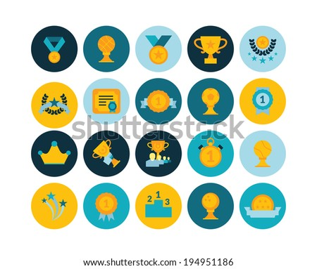 Flat icons set 29 - winning, prizes and awards - stock vector