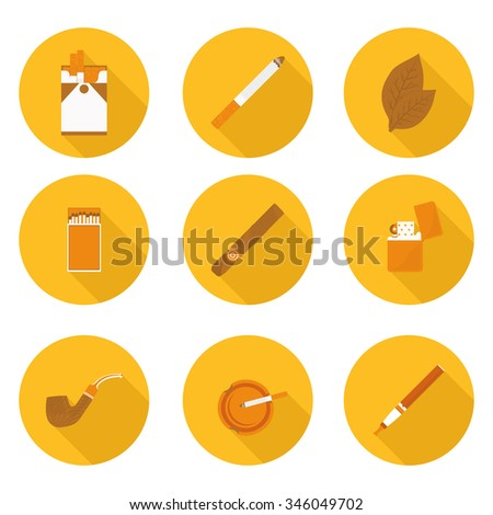 flat icons Smoking accessories - stock vector