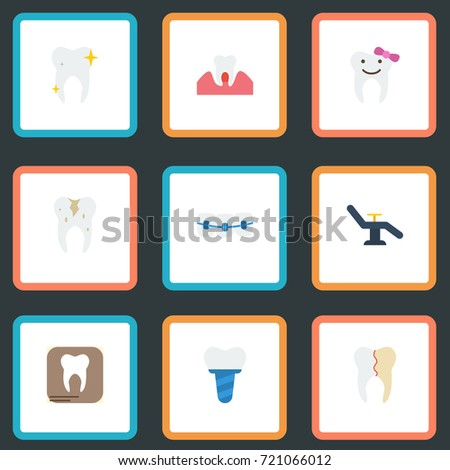 Flat Icons Treatment, Children Dentist, Implantation And Other Vector Elements. Set Of Tooth Flat Icons Symbols Also Includes Furniture, Implant, Healthy Objects.