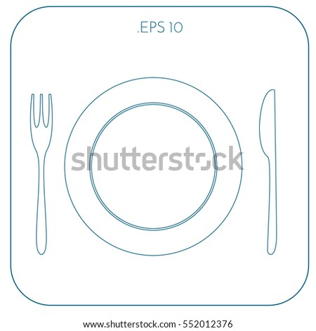 Flat icons utensils vector illustration. Flat design. Line art design.