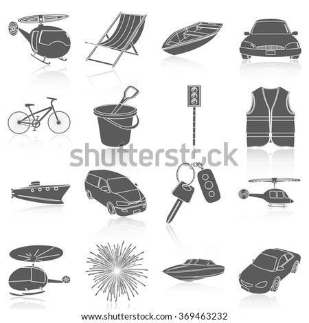 Flat icons vector collection of travel set. Isolated on white background. - stock vector