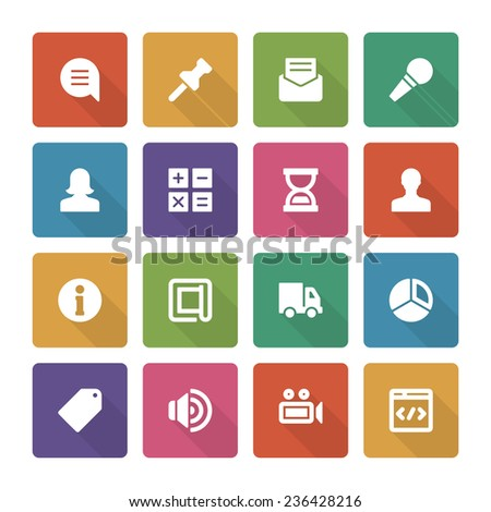 Flat icons vector set and long shadow effect for web design, infographics, ui and mobile apps. Objects, business, office, communication and marketing items - stock vector