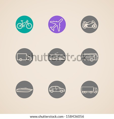 flat icons with different modes of transport - stock vector