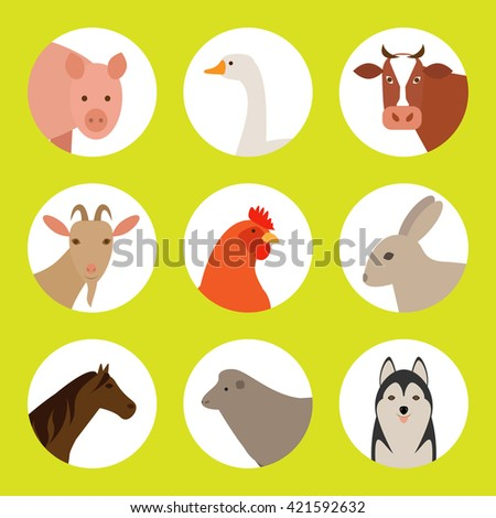 Flat  icons with farm animals. Set of flat farm animals. Farm animals on a white background. Farm animals and pets. - stock vector