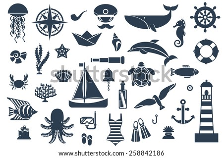 Flat icons with sea creatures and symbols. Vector illustration. Marine symbols. Sea leisure sport. Nautical design elements: anchor, starfish, wheel, boat, lifebuoy, lighthouse, octopus, compass. - stock vector