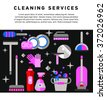 Flat illustration home appliances, household chemicals and  washing and cleaning. Cleaning company. Housekeeper  equipment. Doodle design style concept, for web banners.    - stock vector
