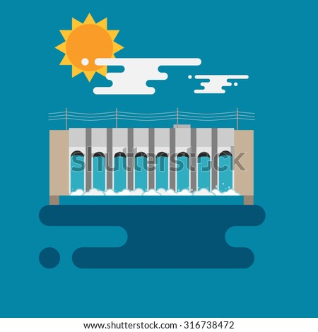 Flat illustration of a hydroelectric dam generating power and electricity with falling water, sun and clouds. Flat style vector with blue background. - stock vector