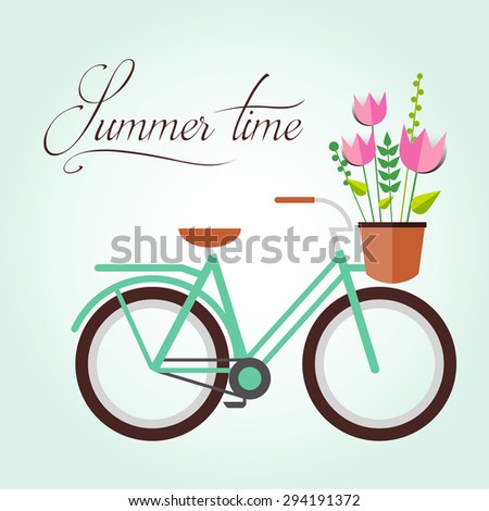 Flat illustration of blue bicycle with flowers tulips. Summer card or poster. Hipster symbol. Travel. Transport for lifestyle - stock vector
