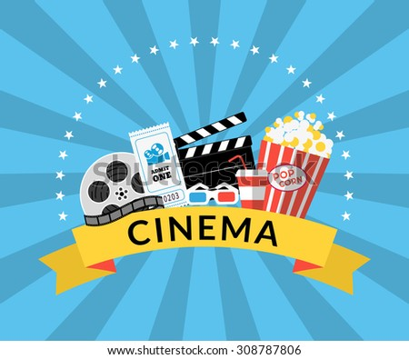 Flat illustration of cinema industry symbols such as Pop corn, 3d glasses, ticket, film - stock vector