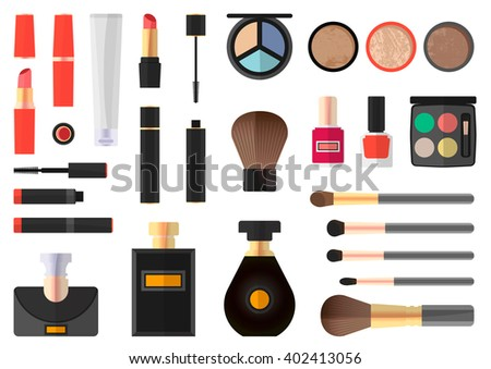 Flat illustration of cosmetic products. - stock vector