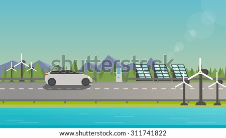 Flat illustration of electromobile on highway near windmill, solar panels and beautiful nature.  - stock vector