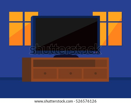 Flat illustration of Flat screen television in house with windows
