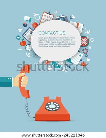 Flat illustration of hand holding phone with icons. Contact us. Eps10 - stock vector