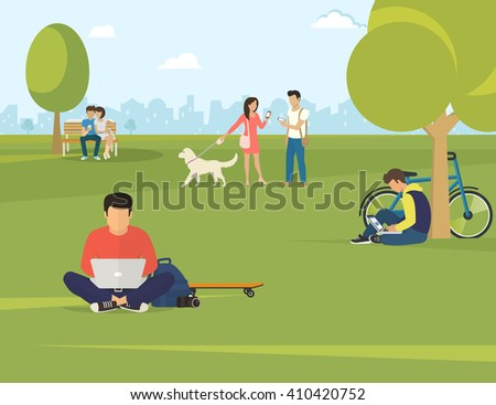 Flat illustration of people using gadgets sitting on the grass in the park. Young guys are using laptop, woman talking her friend and couple sitting on the bench and using smartphone to send messages - stock vector