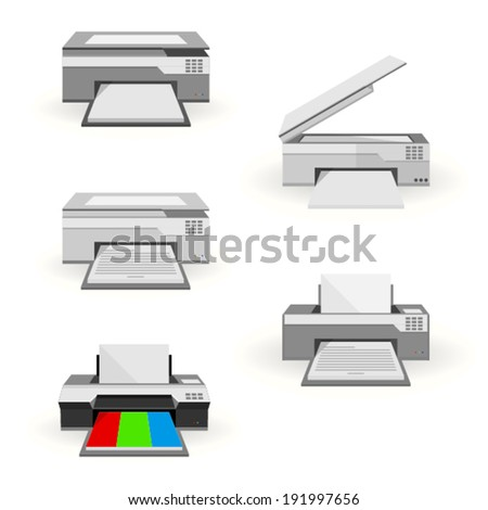 Flat illustration of peripheral. Gray colorful printers and gray copiers. Five flat illustrations on white. - stock vector