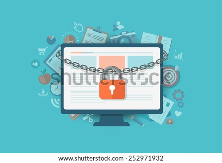 Flat illustration of security center. Lock with chain around  laptop. Eps10 - stock vector