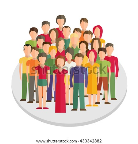 Flat illustration of society members with a large group of men and women - stock vector