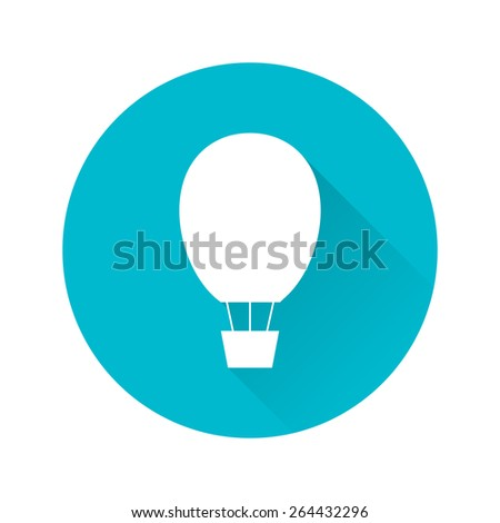 Flat illustration of white hot air balloon on scuba blue circle with long shadow. Element for design. - stock vector