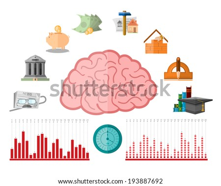 flat illustration with different human financial life period from education to pension which consist from business icons  - stock vector