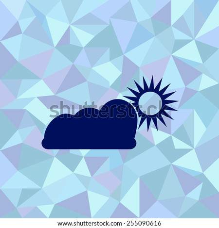 Flat image of cloud with the sun