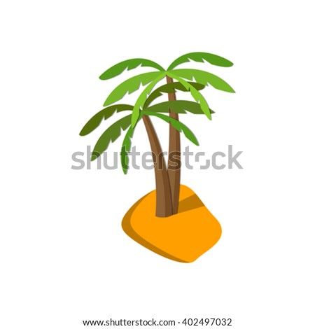 Flat image of palm tree on island. Eps 10