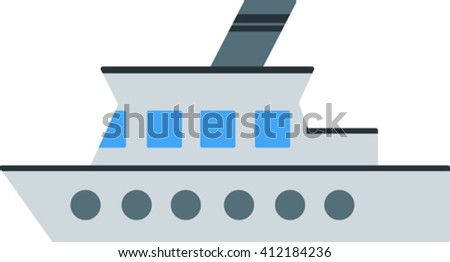 Flat image of steamship with a pipe steamboat - stock vector