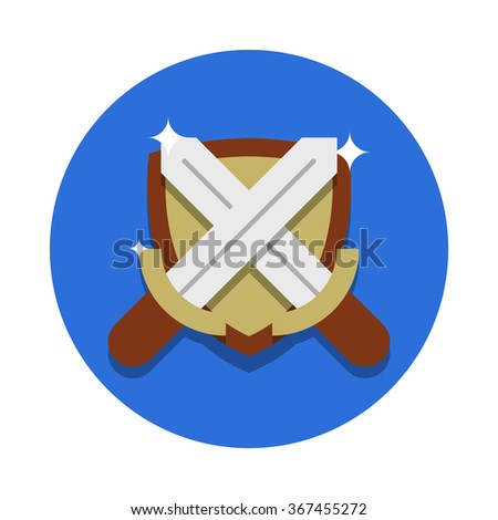flat image of two crossed steel swords and the shield with highlights on the circle background
