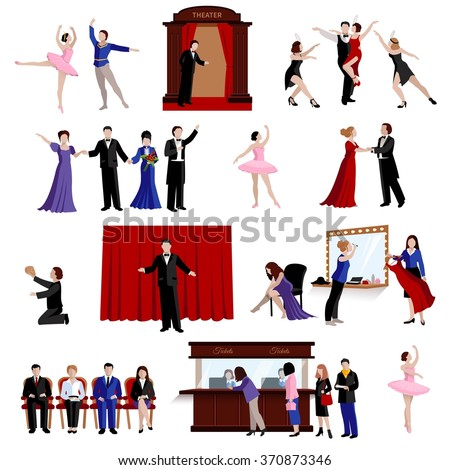 Flat images set of scenes with theater people from ballerina and actors to spectators isolated vector illustration - stock vector