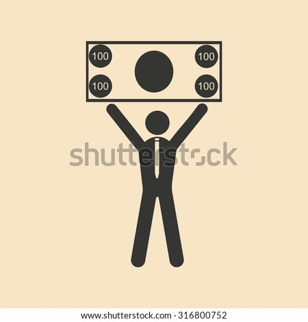 Flat in black and white man holding banknote - stock vector
